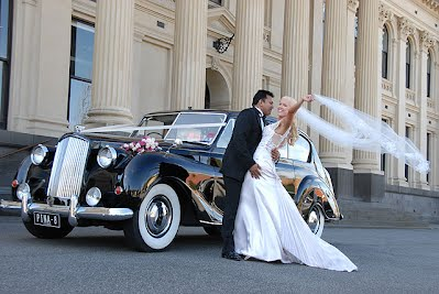 1959 Austin Princess Bride and Groom
