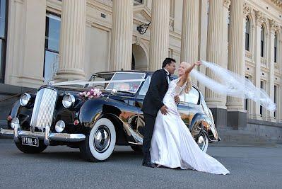 1959 Austin Princess Bride and Groom